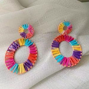 Anthro Kiera Raffia Statement Earrings